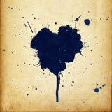 Manchas de óxido en forma de corazón de la tinta azul de la vendimia. ilustración del vector