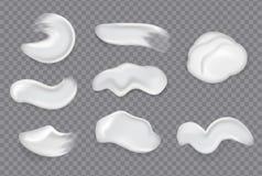 Manchas de creme cosm?ticas real?sticas nRealistic desnata a gota espirra o gel hidratando fresco da pele da mancha da loção do p ilustração stock