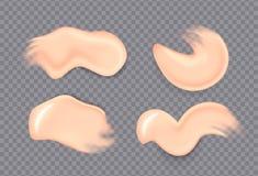 Manchas de creme cosm?ticas real?sticas Realístico desnata a gota espirra o gel hidratando fresco da pele da mancha da loção do p ilustração do vetor