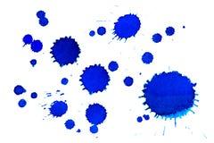 Manchas de tinta azuis Fotografia de Stock