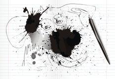 Manchas de tinta y garrapatos Fotografía de archivo