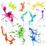 Manchas del chapoteo del color de agua del vector Imagen de archivo libre de regalías