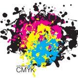 Manchas del cmyk de la acuarela stock de ilustración