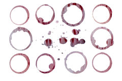 Manchas isoladas do vinho vermelho. Trajetos separados Imagem de Stock Royalty Free
