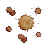 Manchas realistas del café fijadas Imagen de archivo libre de regalías