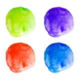 Manchas redondas de la acuarela del vector fijadas Imágenes de archivo libres de regalías