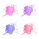Manchas rosadas y violetas de la acuarela Fotos de archivo libres de regalías