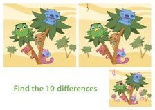 Manche el juego de la habilidad de las diferencias con imagen de la respuesta Foto de archivo
