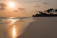 Manchebo beach on Aruba island at sunset. In the Caribbean Royalty Free Stock Photo