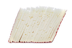 Manchego cheese. Some slices of manchego cheese on a white background Royalty Free Stock Photo