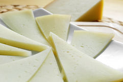Manchego cheese from Spain. Closeup of some slices of manchego cheese from Spain Stock Photos