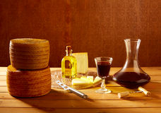 Manchego cheese from Spain in wooden table Stock Photo