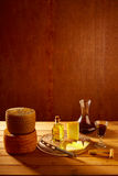 Manchego cheese from Spain in wooden table Stock Images