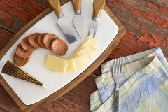 Manchego cheese with spicy sausage Royalty Free Stock Image