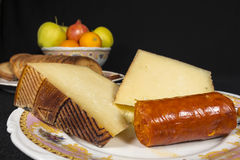 Manchego Curado cheese and sobrassada, typical Majorcan sausage Royalty Free Stock Image
