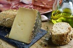 Manchego ost och spanska kalla kött royaltyfri foto