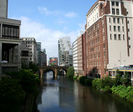 Manchester. The River Irwell, Manchester on the left, Salford on the right royalty free stock photo