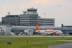 Manchester airport. Busy turn around of aircraft at Manchester airport royalty free stock photography