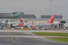 Manchester Airport. Busy turn around of aircraft Manchester airport Stock Photos
