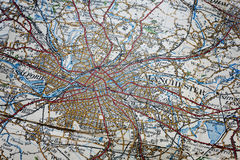 Manchester area old map. Close shot of an old map of the Manchester area Royalty Free Stock Images