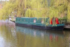 Manchester canal. Manchester - city in North West England (UK). Narrowboat in Castlefield district, waterway canal area Stock Images