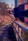 Manchester Canal Cityscape, Potato Wharf. A cityscape of Manchester, on a walk from Salford to Manchester City Centre Royalty Free Stock Photo