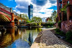 Manchester Canal uk england. England, Manchester skyline, uk, a shot of the Deansgate canal royalty free stock photos