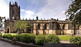 Manchester Cathedral. On a bright summer day, Manchester, UK royalty free stock photography