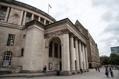 Manchester Central Library building England. Manchester, England - September24, 2016: Exterior view of the curved building of the central library of Manchester Stock Photos