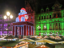 Town Hall and Santa at Xmas Fair Manchester Stock Images
