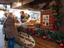 Mulled wine stall at Manchester Xmas Market Stock Image