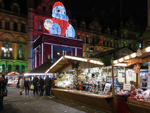 Santa Town Hall and stalls Xmas Market, Manchester Stock Photo