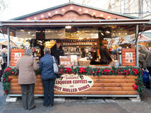 Stall coffee and wine at Xmas Market, England Stock Photos