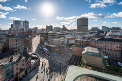 Manchester City Center England UK. View over Manchester city from high up stock photo