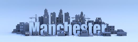 Manchester, city in 3d render Stock Photos