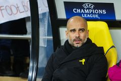 Manchester City F C Cheftrainer Pep Guardiola Lizenzfreies Stockbild