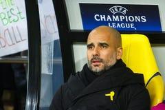 Manchester City F C Cheftrainer Pep Guardiola Stockfotos