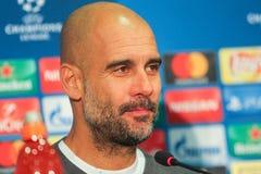 Manchester City F C Cheftrainer Pep Guardiola Stockbild