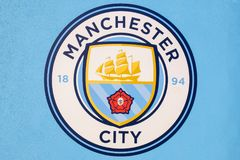 Manchester City fotbollklubba i Manchester, UK Fotografering för Bildbyråer