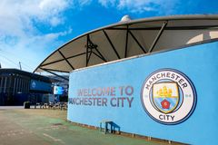 Manchester City fotbollklubba i Manchester, UK Royaltyfri Bild