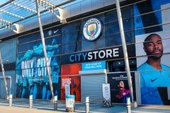 Manchester City fotbollklubba i Manchester, UK Arkivbilder