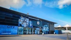 Manchester City fotbollklubba i Manchester, UK Royaltyfria Bilder