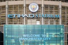 Manchester City fotbollklubba i Manchester, UK Royaltyfri Fotografi