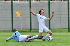 Manchester City player knocks down the opponent Stock Photo