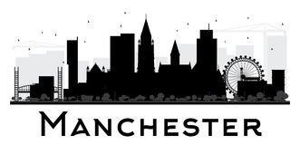 Manchester City skyline black and white silhouette. Simple flat concept for tourism presentation, banner, placard or web site. Cityscape with landmarks. Vector Royalty Free Stock Photos