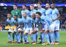 Manchester City spelareline up Royaltyfria Foton
