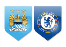 Manchester city vs chelsea. Prizren,Kosovo - november 19,2016: premier league teams manchester city and chelsea Royalty Free Stock Images