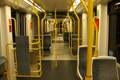 Manchester empty tram internal Royalty Free Stock Photography
