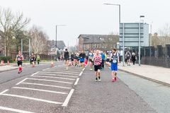 GREATER MANCHESTER MARATHON in Manchester, UK. MANCHESTER, ENGLAND - 08 APRIL, 2018: RUNNERS AT THE GREATER MANCHESTER MARATHON in Manchester, UK stock images
