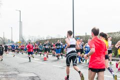 GREATER MANCHESTER MARATHON in Manchester, UK. MANCHESTER, ENGLAND - 08 APRIL, 2018: RUNNERS AT THE GREATER MANCHESTER MARATHON in Manchester, UK stock photo